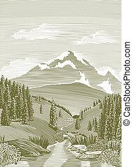 río, escena, woodcut