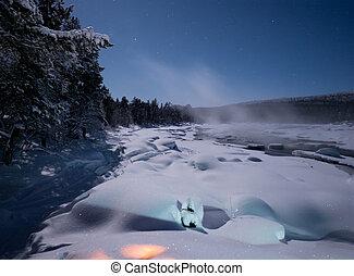río, finlandia, niebla, encima, juutuanjoki
