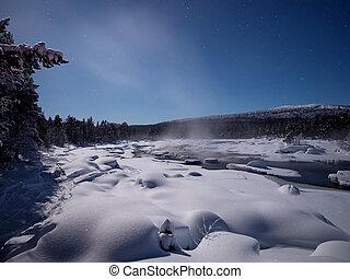río, luz de la luna, finlandia, encima, juutuanjoki