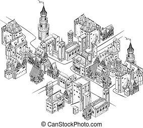 rúbrica, ilustración, mapa, pueblo, medieval, vendimia