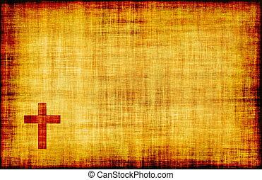 rúbrica, papel, cruz, santo, pergamino