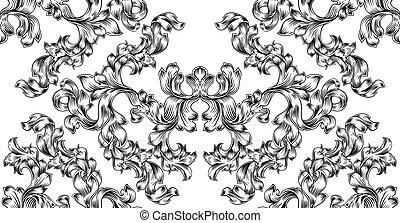 rúbrica, patrón, motivo, floral, seamless, azulejo