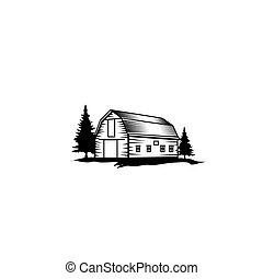 rústico, ilustración, vendimia, granero, granja, retro