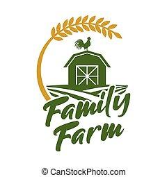 rústico, logotipo, granja, logotipo