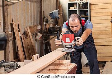 rúter, eléctrico, carpintero