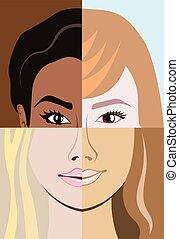 racial, carrera, diversidad