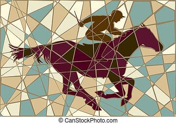 Racing caballo mosaico