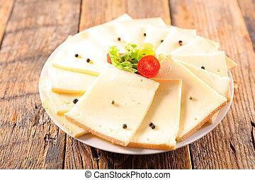 raclette, placa, queso, rebanada