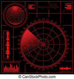 radar, globe., digital, pantalla