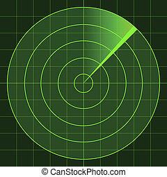 radar, pantalla, vector