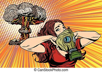 radiación, nuclear, niña, explosión, peligro, careta antigás