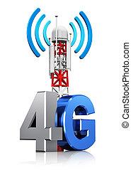 radio, 4g, concepto, comunicación