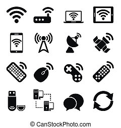 radio, conjunto, dispositivos, iconos