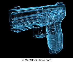 radiografía, azul, pistola, (3d, transparent)