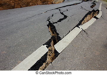 rai, roto, chiang, tailandia, terremoto, camino