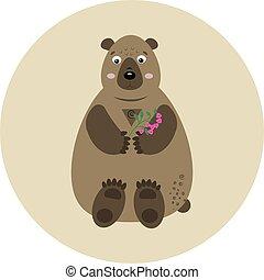rama, oso, vector, frambuesa