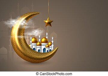 ramadan, illustration., kareem, vector