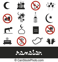 Ramadan Islam vacaciones iconos negros set Eps10