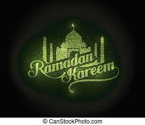 Ramadan kareem brillante etiqueta