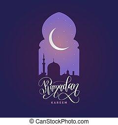 Ramadan kareem calligrafia. Ilustración de vectores de símbolos navideños islámicos. Vista nocturna de la mezquita desde Arch.