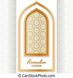 Ramadan kareem fondo. Ventana árabe islámica. Tarjeta de bienvenida. Ilustración de vectores.