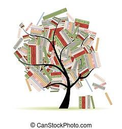 ramas, árbol, biblioteca, libros, diseño, su