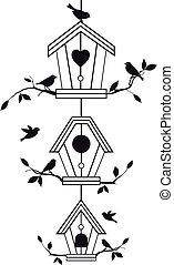 ramas, birdhouses, árbol