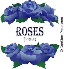 Ramas de rosas azules en forma media redonda