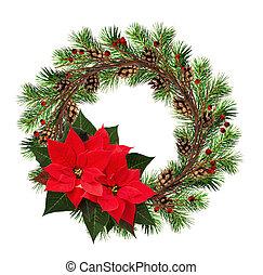 ramas, rojo, guirnalda, bayas, flor de nochebuena, navidad, conos, ramitas, seco, redondo, flores, árbol