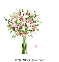 ramo, diseño floral, su, boda