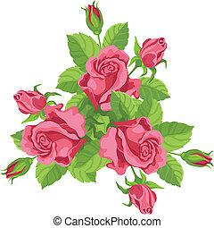 ramo, divertido, rosas