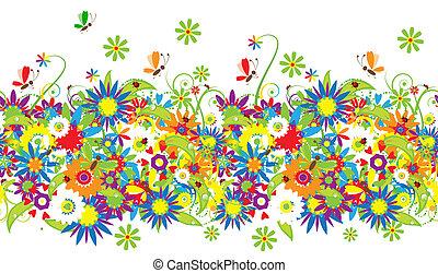 ramo floral, ilustración de verano