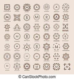 ramo, templates., elegante, grande, diseño, simple, lujo, monogram