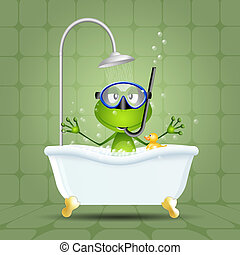 Rana en baño con máscara de buceo