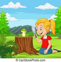 rana, mirar, poco, lupa, jardín, utilizar, niña
