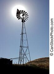 Ranch molino de viento con sol detrás