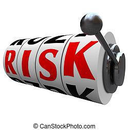 ranura, palabra, riesgo, probabilidades, -, máquina, oportunidad, juego, ruedas
