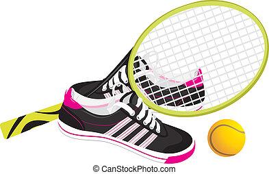 Raqueta de tenis con zapatos de entrenador