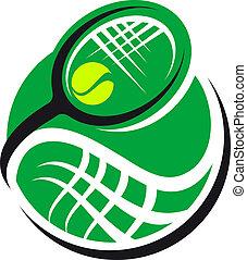 raqueta, pelota de tenis, icono