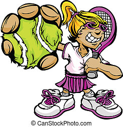 raqueta, pelota, jugador del tenis, tenencia, niña, niño