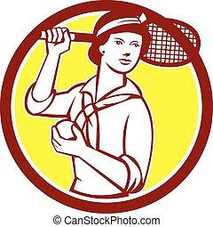 raqueta, vendimia, jugador del tenis, retro, hembra, círculo