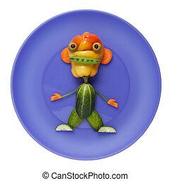 Raro monstruo vegetal en el plato azul