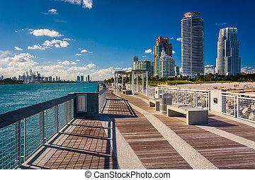 rascacielos, mia, parque, pesca, pointe, muelle, sur, vista