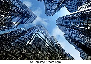 rascacielos reflexivos, edificios de oficinas de negocios.