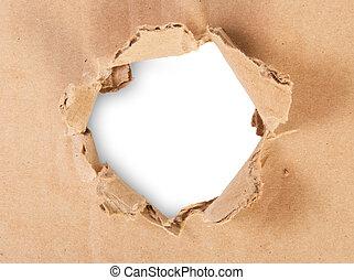rasgado, cartón, agujero