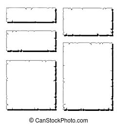 rasgado, conjunto, viejo, marco, papel, blanco, sombra