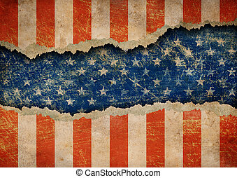 rasgado, grunge, estados unidos de américa, patrón, bandera, papel