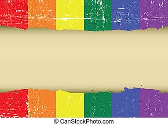 rasguñado, arco irirs, bandera, alegre