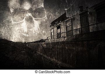 rasguñado, río, fantasma, mal, mirada, usado, obsesionado, sky., cráneo, bank., varado, asustadizo, película, vendimia, ship., naufragio