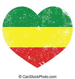 Rasta, bandera del corazón retro rastafari